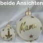 Preview: Christbaumkugel Glas Wunschname Wollweiß 6 cm Schrift gold