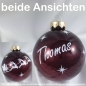 Mobile Preview: Christbaumkugel Glas Wunschname Marsala glanz 8 cm Schrift weiß